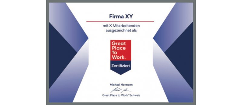 Diplôme «Great Place to Work Switzerland»